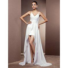 Sheath/Column Spaghetti Straps Short/Mini Chiffon Wedding Dress With Removable Train – USD $ 98.99