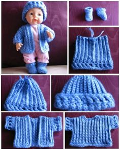 Find free crochet doll clothes patterns for a variety of sizes including 18 inch dolls in this collection. You'll find accessories, dresses, and more! Knitting Dolls Clothes, Baby Doll Clothes, Crochet Doll Clothes, Doll Clothes Patterns, Baby Dolls, Dress Patterns, Shirt Patterns, Knitting Toys, Barbie Clothes