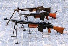 From rearfrom the rear American BAR 1918A2 War in Korea,  Belgian  FN FML 1930 and Polish vz.28.