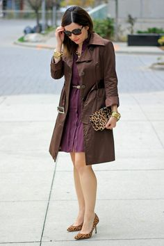 Brown Satin Trench