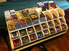 Ready-to-Play-storage-solution to Arkham Horror. This would be nice for Dominion too. Board Game Organization, Board Game Storage, Board Game Table, Game Tables, Fixer Up, Design Creation, Geek Games, Card Storage, Card Organizer