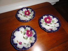 Hand Painted Nippon Cobalt Blue Gold China Bowls with Floral Design DB   eBay