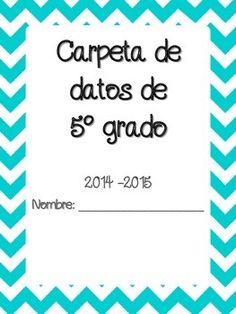 Data Binder Cover in Spanish ~ Portada de Cuaderno de datos para Kindergertan hasta 5to grado.