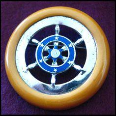 Unusual Nautical Bakelite & Enamel Pin - For sale on Ruby Lane Nautical Jewelry, Vintage Brooches, Belt Buckles, Enamel, Ruby Lane, Plastic, Sun, Beach, Style