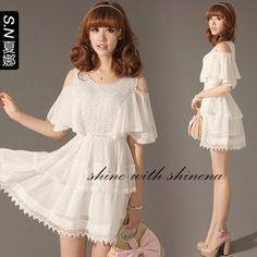 Shana 2012 new summer Korean strapless short-sleeved white chiffon dress sub summer women 1503  $47.18