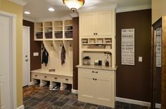 """like the stand/""""mail & key station"""" with drawer, do 2 more drawers instead of the cabinet below.  plus open area to put keys, etc, then tall cabinet above"""