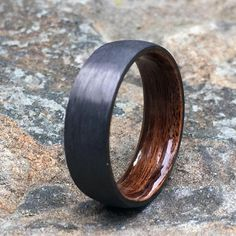 Carbon Fiber Ring Wood Ring Wood Inlay Ring Engagement