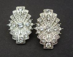 Art Deco stud earrings | ... Stud Earrings, Antique Silver Bridal Earrings, Wedding Jewelry, RITA