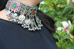 collar gargantilla boho tribal etnico india por azulcasinegro