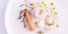 Sous-Vide Wheat-fed Guinea Fowl, Parfait Cigar and Pickled Mushroom - Sous-Vide Guinea Fowl Recipes, Brick Pastry, Apple Jelly, Apple Brandy, Great British Chefs, Truffle Oil, Stuffed Mushrooms, Stuffed Peppers, Green Food Coloring