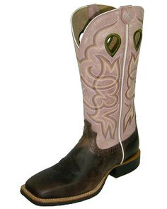 "TWISTED X BOOTS Ruff Stock NWS Toe 13"" - Chocolate/Pink @ countryoutfitter.com"