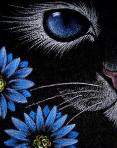 """Cat Behind the Blue Flowers"" par Cyra R. Cancel"