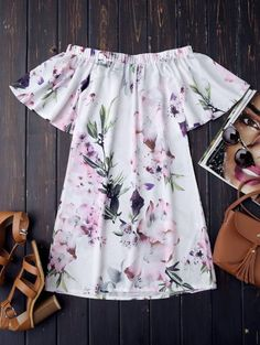 SHARE & Get it FREE | Off The Shoulder Flower Vintage Dress - WhiteFor Fashion Lovers only:80,000+ Items • New Arrivals Daily Join Zaful: Get YOUR $50 NOW!