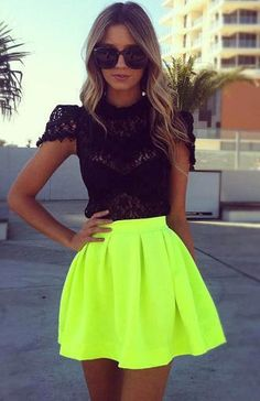 omg i love the bright skirt. Myself personally would try a bright neon pink instead but either one is cute! SEXY meets Hip Hop