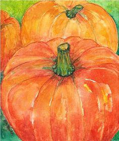 Pumpkins, Original Watercolor Painting by ebsq Artist Ricky Martin