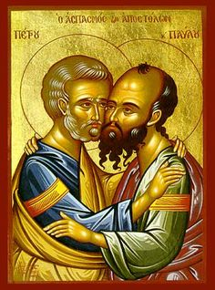 Church of Saints and the Eastern Orthodox Icons Religious Images, Religious Icons, Religious Art, Byzantine Icons, Byzantine Art, Greek Icons, St Peter And Paul, Paul The Apostle, Russian Icons