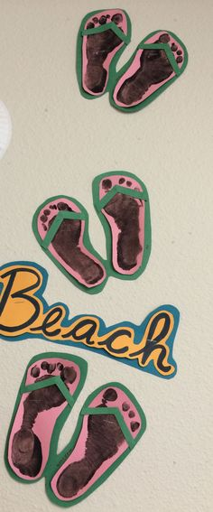"""""""We Love The Beach"""" : Footprint Sandals . Arts And Crafts The Go Along With The Bulletin Boards On My Other Board . These Crafts For Toddler And Preschoolers Will Be A Hit And Are Relatively Easy To Do ! :)"""