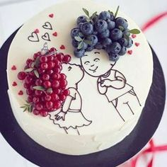 Cake decorated with berries ^^ A handful of ideas like this one for you in our - Sweets - Kuchen Food Cakes, Cupcake Cakes, Fruit Cakes, Pretty Cakes, Cute Cakes, Cake Recipes, Dessert Recipes, Baking Desserts, Cake Baking
