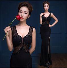 2015 immagine reale o-collo pizzo nero abiti del partito lungo abito da sera vestido de festa longo com renda veste abiti da sera tk1188(China (Mainland))