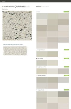 Cotton White (Polished). Granite Collection. Natural stone. Daltile. Behr. Benjamin Moore. PPG Paints. Ralph Lauren Paint. Sherwin Williams. Valspar Paint.  Click the gray Visit button to see the matching paint names.