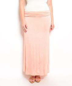 This Peach Fold-Over Maxi Skirt - Plus is perfect! #zulilyfinds