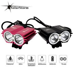 RU Domestic Delivery Solarstormx2 T6 Led bike light  6400mah 8000Lum bicycle light bicycle accessories Four Model Charger