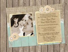 Rustic Wedding Invitation, burlap, lace, vintage brooch, Digital file, Printable