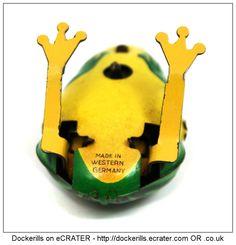 Hopping Frog, KOHLER, West Germany (Picture 2 of 2). Vintage Tin Litho Plate Toy. Wind-Up / Clockwork Mechanism.