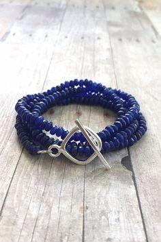Cobalt Blue Jade Bracelet / Long Beaded Necklace or Triple Wrap Bracelet