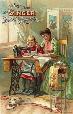 Singer Sewing Machine ad called The First Lesson. The only aspect that is out of place is that dead animal rug with mouth agape,