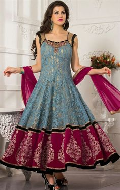 Picture of Vivacious Ash Gray Color Designer Anarkali Suit