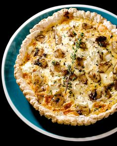Caramelised garlic and three cheese tart