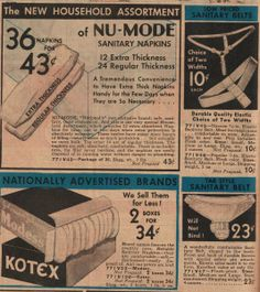 Ads from a 1934 catalog for sanitary pads and belts