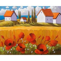 "Art Print by Cathy Horvath 5""x7"" Giclee Red Poppy Flowers Yellow Field & Ocean Cottages, Giclee Folk Art Landscape SoloWorkStudio Artwork"