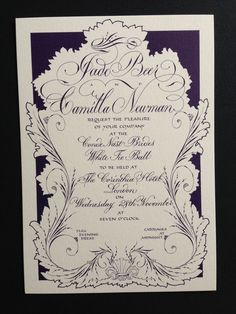 beautifully penned by Paul Antonio, London...Wedding style invite for a corporate event