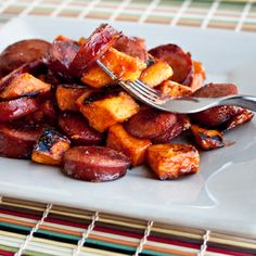 BBQ Sausage and Sweet Potatoes -- so flippin good. I roast the sweet potatoes with garlic and oregano as well.