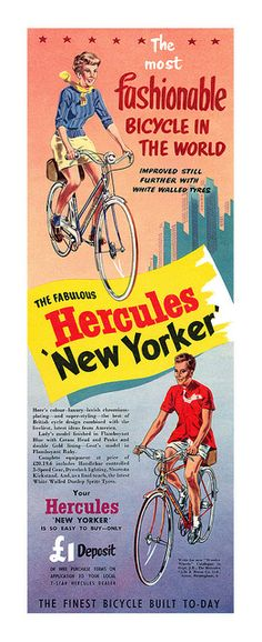 "1955 Hercules New Yorker bicycle ad  ""The most fabulous bicycle in the world"""