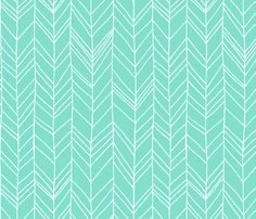 Featherland Mint/White LARGE fabric by leanne on Spoonflower - custom fabric