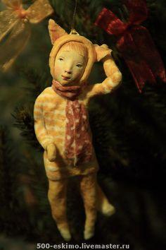 Новый год 2013 ручной работы. Ярмарка Мастеров - ручная работа Кошка ватная на ёлку. Handmade.