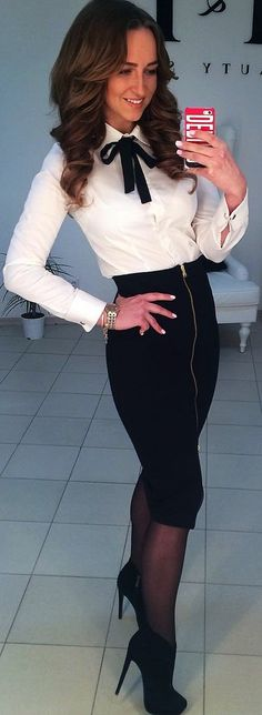 a really classy look,  team your black pencil skirt with a really cool blouse with bow to match skirt,-sexy