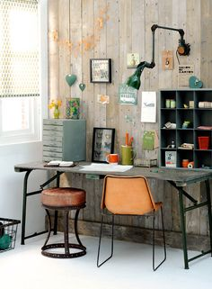 Nice combination of rustic and industrial for the owner of this workspace.