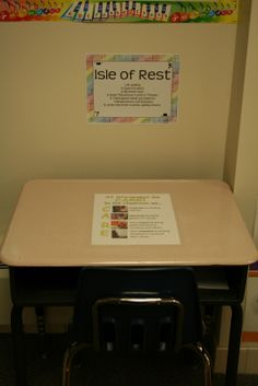 Isle of rest in a buddy classroom. Student comes in follows directions and returns to their room. PBIS.