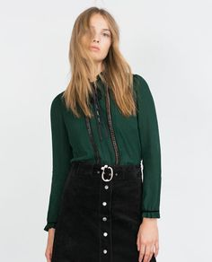 Image 3 of BLOUSE WITH LACE TRIM from Zara