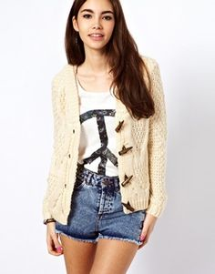 Only Cable Knit Toggle Cardigan // asos