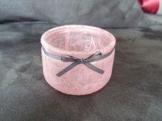Vente Mariage 2012 - Photophores en fibre rose et ruban de satin gris