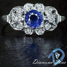 VINTAGE COCKTAIL NATURAL CORNFLOWER BLUE SAPPHIRE DIAMONDS ART DECO RING FLOWER