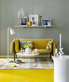 We love how the gray serves as a neutral here, allowing the yellow to shine bright.