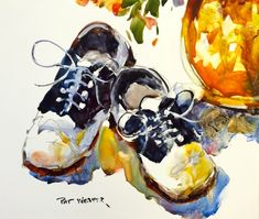 BABY SHOES OXFORD Original Watercolor Painting by Pat Weaver on Yupo