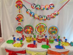 Love the colors and all the balls - great for a bounce house/carnival theme! Ball Theme Birthday, Bouncy Ball Birthday, Balloon Birthday Themes, Bounce House Birthday, Bounce House Parties, Circus Theme Party, Ball Birthday Parties, Baby Boy Birthday, 4th Birthday