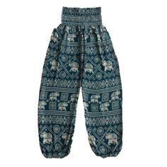 Ladies Teal Green Elephants Pants